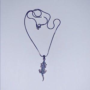 Blue Lizard Necklace